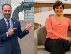 """Eduardo Bolsonaro e Vera Magalhães, do Roda Viva, trocam ironias: """"Cara Playmobil"""", """"elegante"""""""