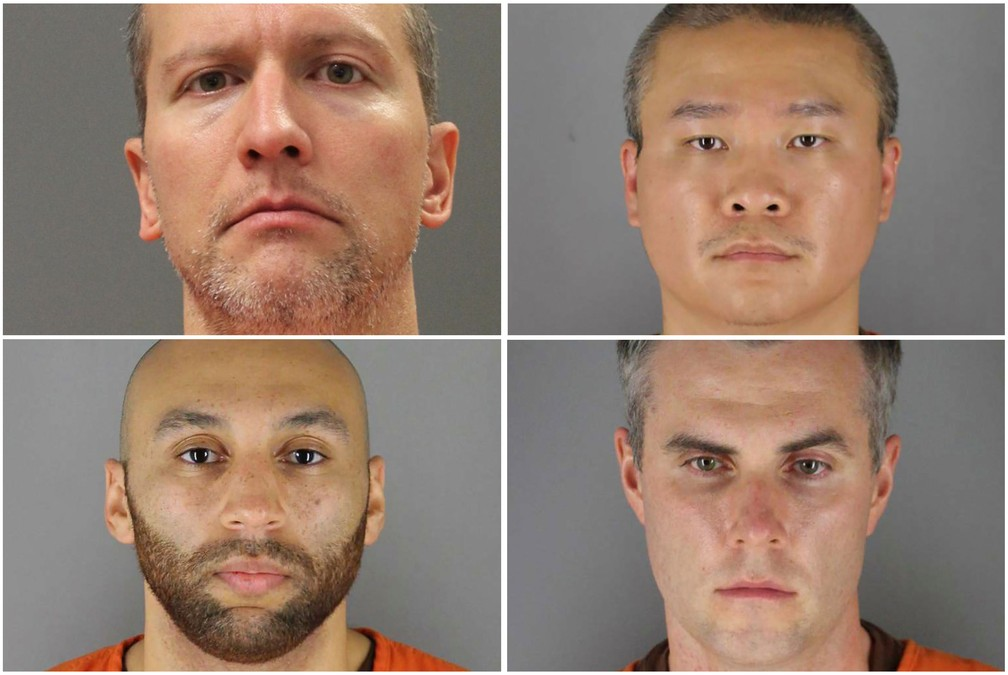 Da esquerda para a direita, Derek Chauvin, Tou Thao (acima) e J. Alexander Kueng e Thomas Lane (abaixo) (Foto: Minnesota Department of Corrections and Hennepin County Sheriff's Office)