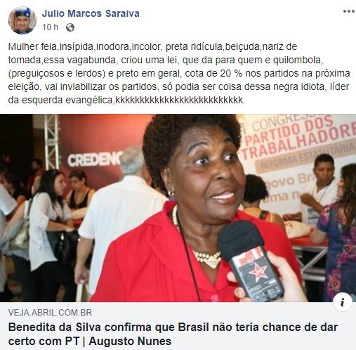 """""""Especialista em gestão de pessoas"""" ataca Benedita da Silva com postagem racista"""