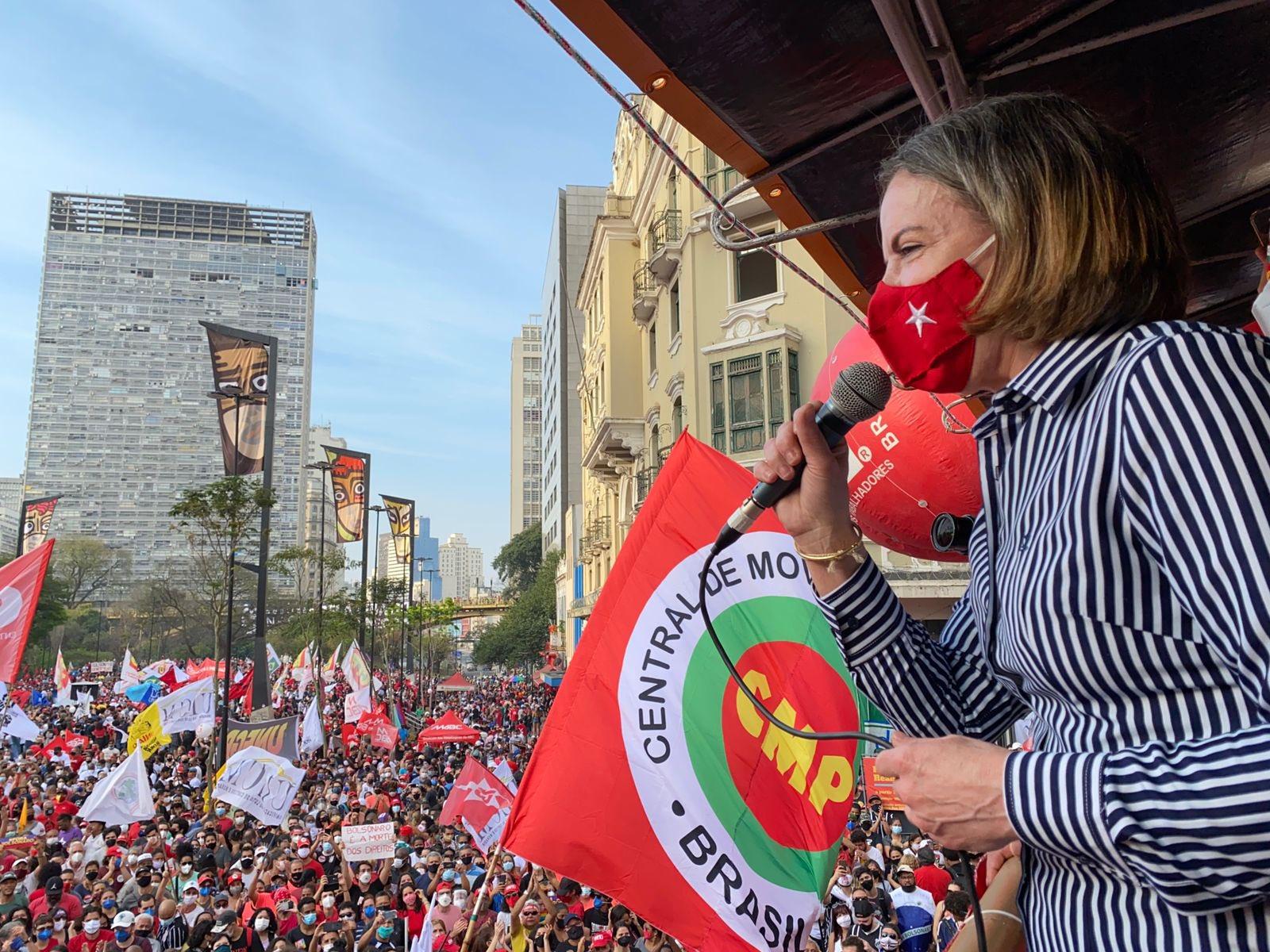 Gleisi Hoffmann no Grito dos Excluídos, em São Paulo