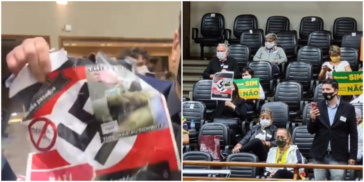 Extremistas antivacina exibiram suástica nazista na Câmara de Porto Alegre (Reprodução)